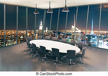 Boarding room night - Boarding room interior with night city...