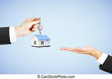 Mortgage concept blue background - Mortgage concept with...