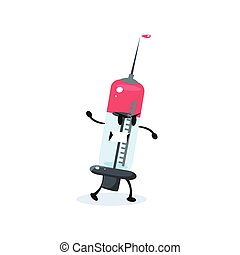 Syringe Cartoon Character Simple Flat Vector Drawing In...