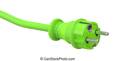 Green electric plug, green energy concept. 3D rendering