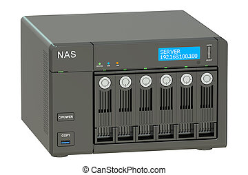 NAS with six disks, 3D rendering - NAS with 6 disks, 3D...