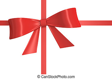 red gift  ribbon, bow. 3D rendering