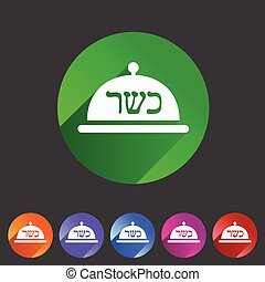 Kosher food platter dish meal icon sign symbol logo label -...