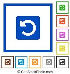 Rotate left framed flat icons - Set of color square framed...