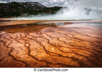 Grand Prismatic Spring - View of the Grand Prismatic Spring...