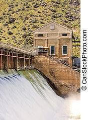 Boise, río, con, alto, flujo, primavera, drenajes,...