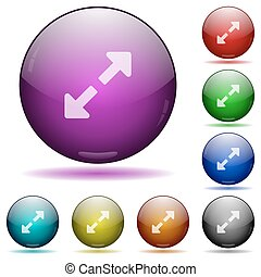 Resize full glass sphere buttons - Set of color Resize full...