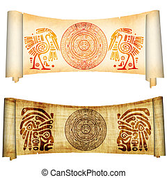 Maya calendar - Set - Maya calendar on ancient parchment