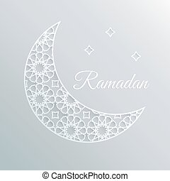 Greeting card, invitation for holly moth Ramadan. Decorative ornamental moon and stars. 3D white paper craft style.