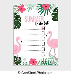 Summer greeting card, invitation. Wish list. Flamingo bird,...