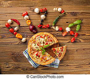 Rustic pizza with ingredients, top view - Rustic pizza with...