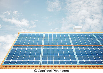 Roof with solar panels front - Front view of solar panels on...