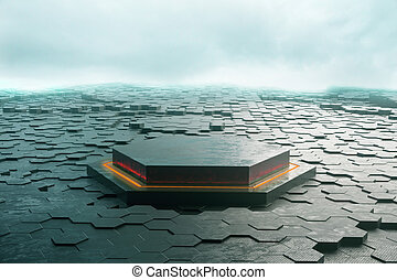 Creative hexagon pedestal and ground in cloudy sky 3D...