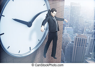 Time management hanging on arrow - Time management concept...
