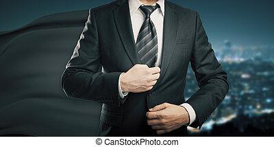 homem negócios, pretas, capa, noturna