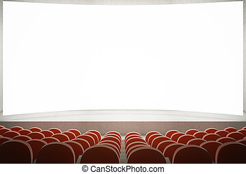 Red seats in cinema - Movie theater with rows of red seats...