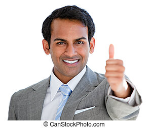 Positive businessman with a thumb-up sign in the office