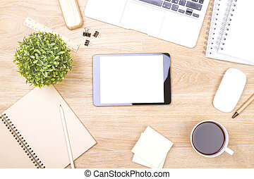 Blank tablet - Topview of wooden desk with blank tablet and...