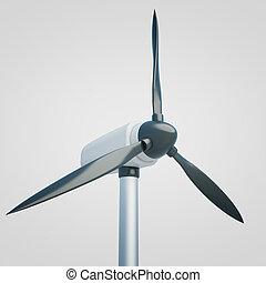 Wind generator closeup light - Closeup of wind generator on...