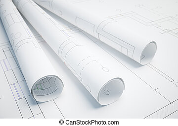 Architectural project - Paper rolls with architectural plan....