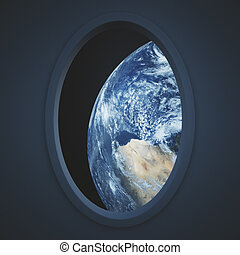 Dark spaceship window with earth view Elements of this image...