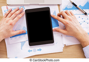 Hands with black tablet - Male hands with black tablet on...