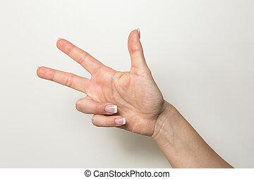 Hand Gesture signs studio shot