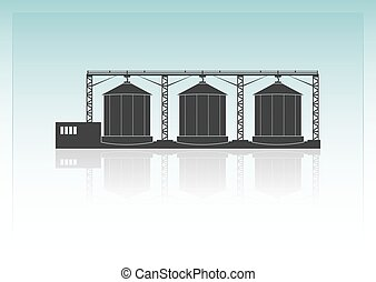 Granaries. Isolated on background. Vector illustration.