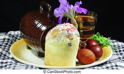 Easter Rotate on a Plate with Eggs and Barrels of Georgian Wine