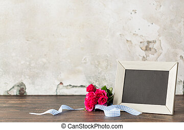 Thank you mom for all your love... - Red roses, wooden frame...