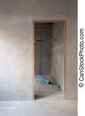 structural door and wall in residential, construction site -...