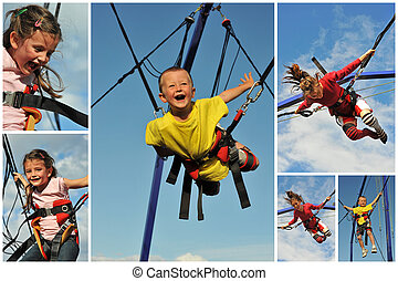 bungee jumping - Little children jumping on the trampoline...