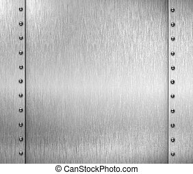brushed metal background with rivets - brushed metal frame...