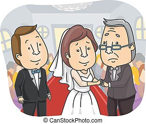 Family Wedding Father Daughter - Illustration of a Sad...