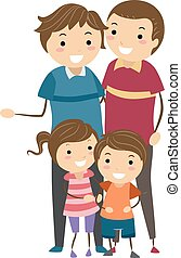 Stickman Family - Stickman Illustration of a Family with...