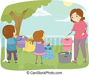 Stickman Family Mom Kids Laundry