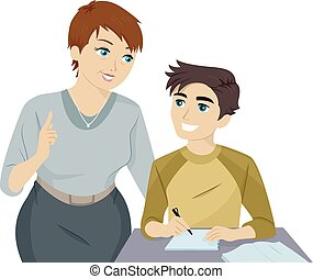 Teen Guy Tutor - Illustration of a Teenage Guy Receiving...