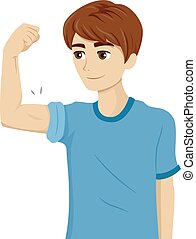 Teen Puberty Muscle - Illustration of a Teenage Guy...