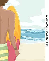 Man Beach Surf Board - Illustration of a Man at a Beach...