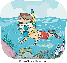 Man Snorkeling - Illustration of a Man Wearing a Snorkel and...