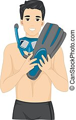 Man Snorkeling Gear - Illustration of a Young Man Wearing...