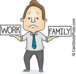Man Balance Work Family - Illustration of a Sad Man Trying...