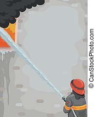 Man Fire Fighter Building - Illustration of a Male...
