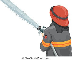Man Fire Fighter Water Hose - Illustration of a Male...