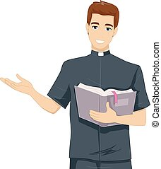 Man Priest Bible - Illustration of a Young Priest Reading...