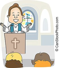 Man Priest Preach Pulpit - Illustration of a Priest...