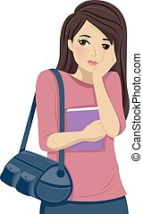 Teen Girl Shy Blush - Illustration of a Shy Teenage Girl...
