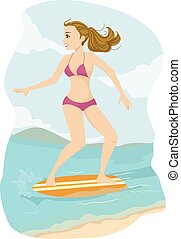 Teen Girl Skim Board - Illustration of a Teenage Girl in a...