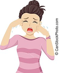 Teen Girl Crying - Illustration of a Teenage Girl Bawling...