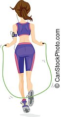 Teen Girl Jumping Rope Work Out - Illustration of a Teenage...